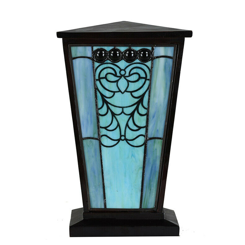 Stained Glass Cremation Urn for Ashes - Large Turquoise Blue