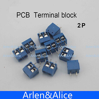 500 Pcs 2 Pin Screw Blue Pcb Terminal Block Connector 5mm Pitch
