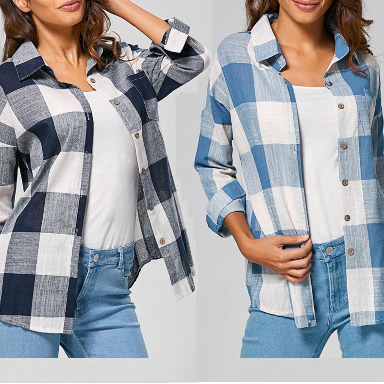 Women Plaid Loose Shirts Three Quarter Sleeve T Shirt Tops Blouse Pockets
