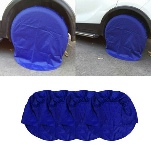 4× Blue Oxford Cloth Wheel Tire Covers RV, Camper, Trailer, Boat 32inch Tires