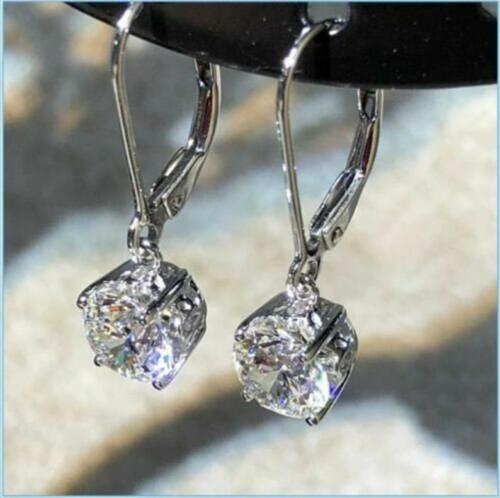 Engagement Wedding Solitaire Drop Leverback Earrings 14K White Gold 2Ct Diamond