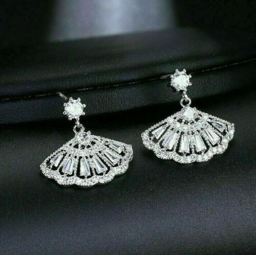2.4Ct Diamond Engagement Victorian Edwardian Drop Dangle Earrings 14K White Gold
