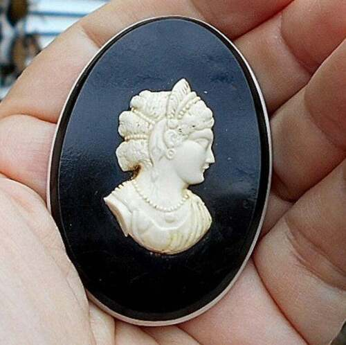 Victorian Black Mourning Cameo Antique of Early Celluloid, Goth, Art Deco, Tiara