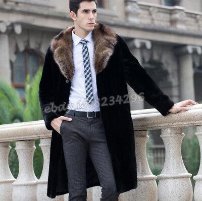 Eleganten Winter Herrenmode Plusgrosse Lila Kragen Pelzmantel Jacket Lange NEUE