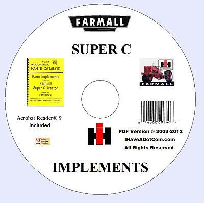Farmall Super C Fast Hitch Implements Parts Manual