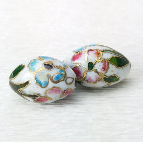 Vintage White w/ Pink Blue Flowers Cloisonne Chinese Enamel Oval 23x15mm  2PCs