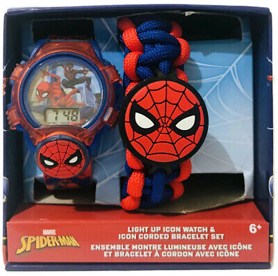 Marvel Spider-Man Light Up Icon Kids Watch & Icon Corded Bracelet Set SPD40025