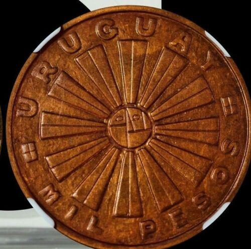 1969SO Uruguay 1000 Pesos NGC MS 64 RB F.A.O.-Bronze Very Stylish Design Coin