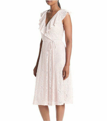Ruffle Faux Wrap (NWT Ivanka Trump Faux Wrap Lace Ruffle Dress Size12 Belted White Floral V-neck)