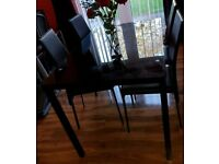 Black Dining Table 4 chairs