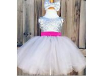 Age 2 silver sequin party dress NWT