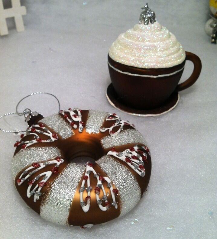 Coffee, Doughnut w/ beaded sprinkles Christmas Tree Ornaments glass