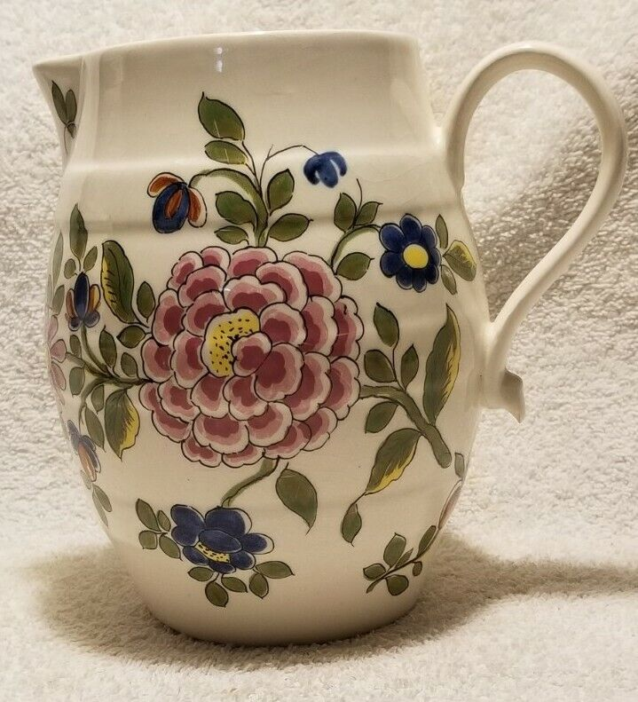 Vintage Delft Williamsburg Restoration Holland Handpainted Floral Pitcher