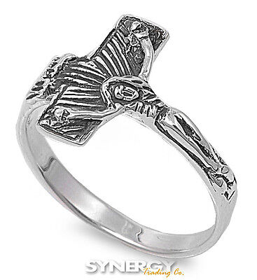 (.925 Sterling Silver Crucifix Cross Religious Fashion Promise Ring Size 5-10 )