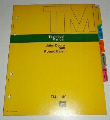John Deere 500 Round Baler Service Shop Repair Technical Manual Original Jd 475