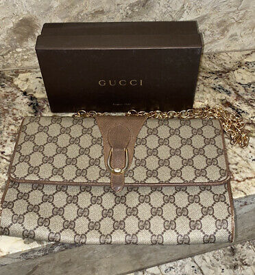 Authentic Gucci Vintage GG With Chain Crossbody Bag