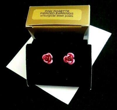 AVON PINK ROSETTE  PIERCED EARRINGS METALLIC ROSE STUDS SURGICAL STEEL POSTS NOS Rose Earring Posts