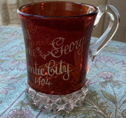 Vintage ruby stained 1904 Souvenir Mug Atlantic City EAPG