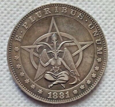 Hobo Nickel Coin 1881-CC Morgan Dollar Pentagram Baphomet COIN