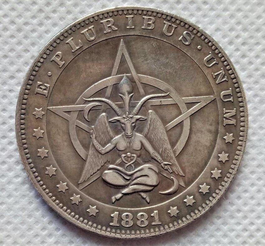 Hobo Nickel Coin 1881-CC Morgan Dollar Pentagram Baphomet COIN