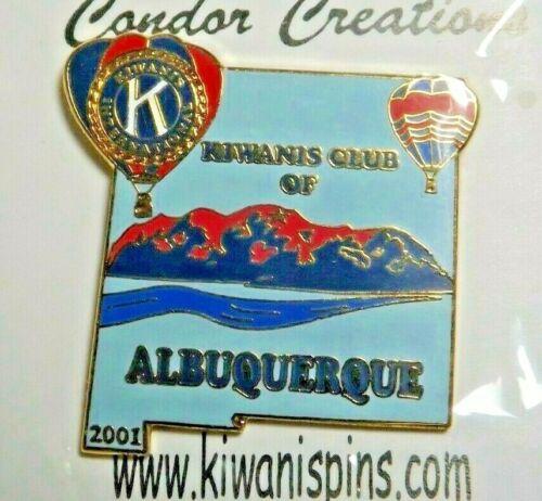 Kiwanis International of Albuquerque 2001 Lapel Pin Hot Air Balloons Mountains