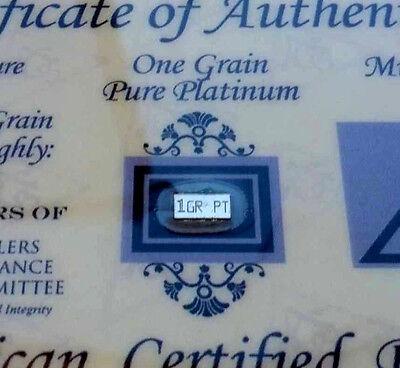ACB 1GRAIN Platinum 99.9 Pure Bullion Bar in Certificate of Authenticity =