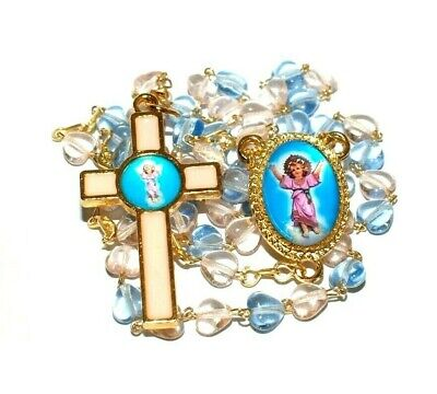 Childrens Rosary Beads - Divine Child Jesus Rosary Necklace glass beads pink blue teal