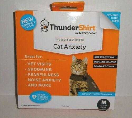 ThunderShirt Classic Cat Anxiety Jacket, Heather Gray, Medium-Brand New