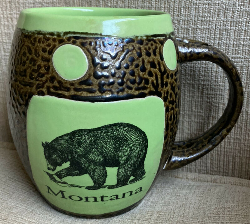 Always Azul Pottery Brown Green Glaze Mug w/Bear State of Montana Villa Grove CO