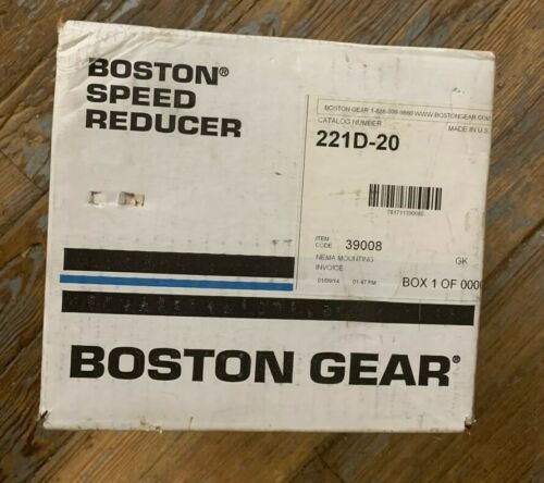 BOSTON GEAR SPEED REDUCER 221D-20 200 SERIES OPTIMOUNT HELICAL GEAR DRIVE NEW