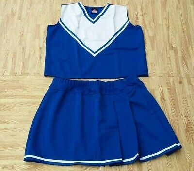 Plus Size Cheerleader Uniforms (Adult Plus Size ROYAL BLUE Cheerleader Uniform Top Skirt 42-44/36-39 Cosplay)
