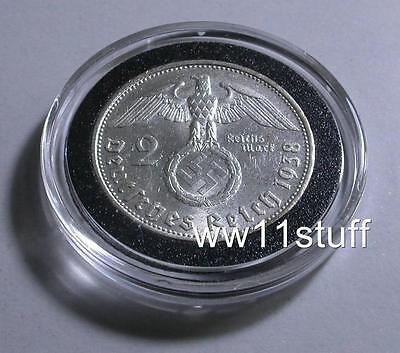 WWII 1938 2 Reichsmark NAZI  Silver GERMAN Coin W/ Swastika , WW2, Reich