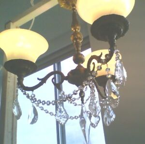 Vintage Italian Brass & Crystal Chandelier (3 sets of shades)