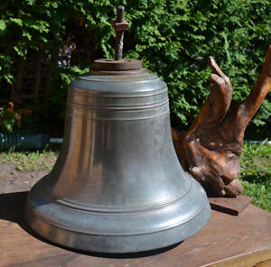 ANTIQUE SHIP'S BRONZE BELL 145 Lbs/ 66 Kg 15 INCHES DIAMETER