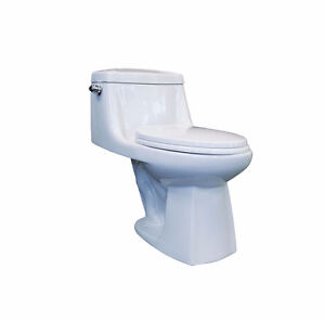 One piece toilet with elongated bowl