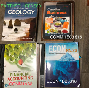MCMASTER TEXTBOOKS(1st&2nd yr): COMMERCE, ECON, EARTHSCI 1G03