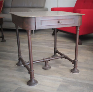 Copper-top industrial chic end table