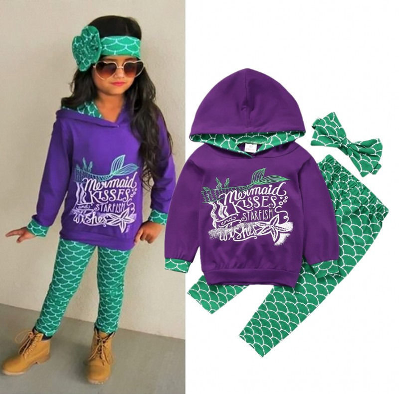 USA Boutique Mermaid Kids Girls Hooded Tops Pants Outfits 3Pcs Set Clothes 2-6T