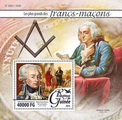 Guinea 2016 Famous Masons Ben Frankilin Stamp Souvenir Sheet GU16107b