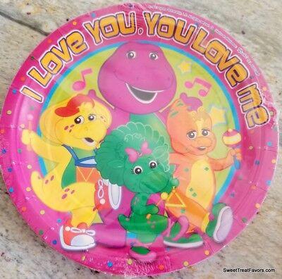 Barney Dinosaur Party Plates LUNCH Birthday Favors 8PC Birthday Baby Bop ILY NEW - Dinosaur Birthday Plates