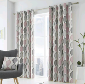 100% Cotton Grey and Pink Geometric Curtains
