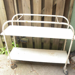 Vintage White Wooden Rolling Unit for Indoors/Patio