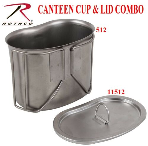 GI Style Stainless Steel Canteen Cup 1 Quart & Cup Lid COMBO Rothco 512 & 11512