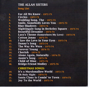 ALLAN SISTERS CD FROM THE TOMMY HUNTER SHOW 1972-1976 VOLUME I North Shore Greater Vancouver Area image 2