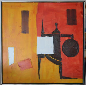 HUGE VINTAGE ABSTRACT OIL ON CANVAS PAINTING 38X38 INCHES