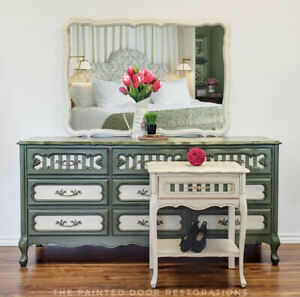 French Provincial Buffet/Sideboard with Accent Table and Mirror