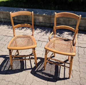 Antique Old Vintage Caned Chair. Set of 2 chairs.