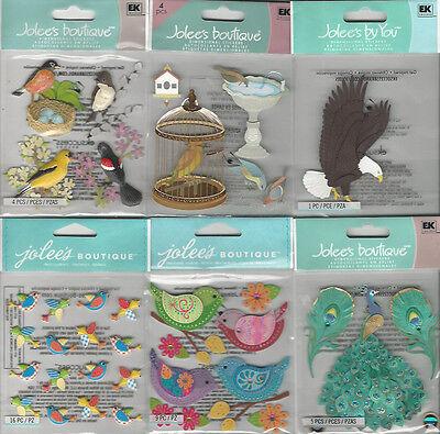 U CHOOSE  Assorted Jolee's BIRDS 3D Stickers hooters owl peacock bath cage robin (Peacock Bird Cage)
