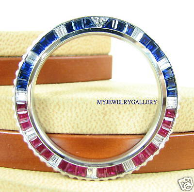 18K WHITE GOLD PEPSI RUBY & SAPPHIRE BEZEL FOR ROLEX SUBMARINER GMT II MASTER