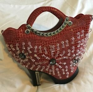 Ladies Red Shoe Handbag With Beads & Silver Tone Hardware